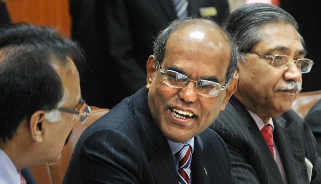 On a positive note: RBI Governor D. Subbarao with Deputy Governor K.C. Chakrabarty at the central bank's board meeting in Kolkata on Thursday. — A. Roy Chowdhury