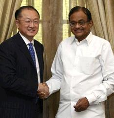 World Bank President, Jim Young Kim, with Finance Minister, P. Chidambaram, in the Capital on Monday. Photo: Kamal Narang